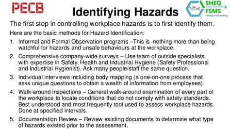 ohs risk assessment and hierarchy of