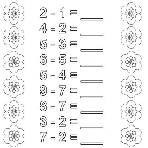 Mathe kreuzworträtsel klasse 5 arbeitsblätter mit. Kostenlose Malvorlage Rechnen lernen: Subtraktion Arbeitsblatt 7 zum Ausmalen