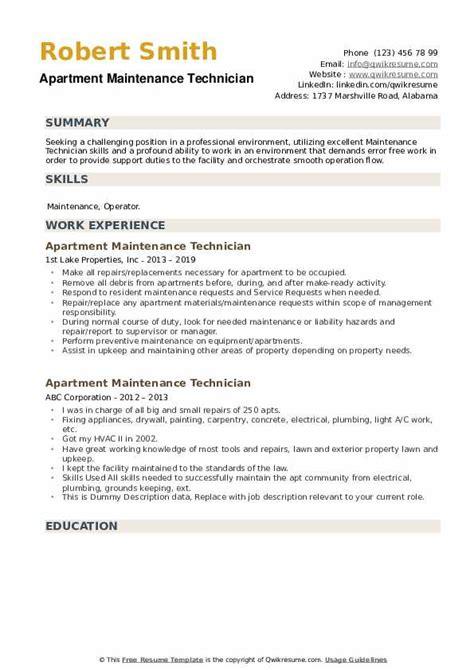 apartment maintenance technician resume samples qwikresume