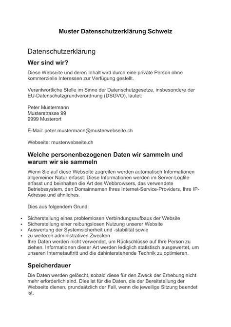 datenschutzerklaerung schweiz muster vorlage gratis