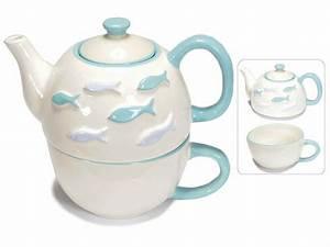 Théière Avec Tasse : set theiere et tasse de ceramique d cor e avec poissons art from italy ~ Teatrodelosmanantiales.com Idées de Décoration