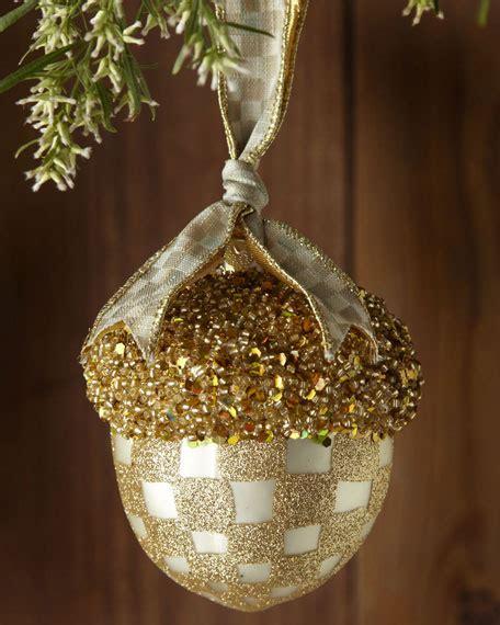 mackenzie childs parchment check acorn christmas ornament