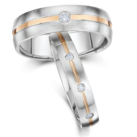 his hers 4 6mm 9ct white gold wedding rings 9ct two colour at elma uk jewellery