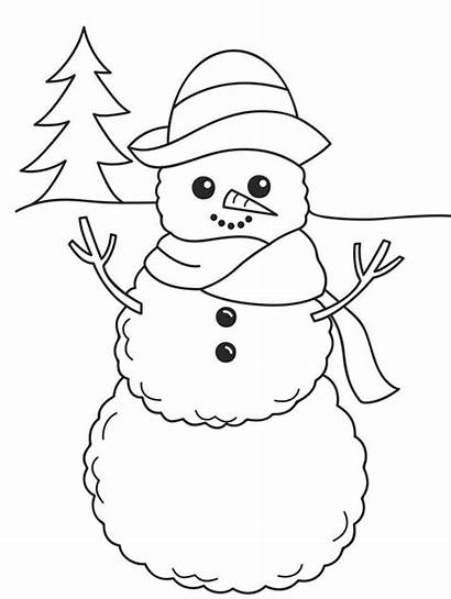 Snowman Coloring Pages Winter Cartoon Sledding