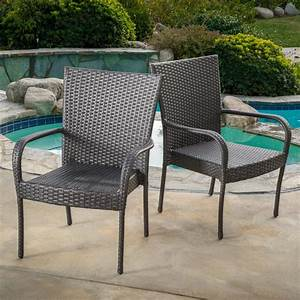 Noble, House, Gray, Stackable, Wicker, Outdoor, Dining, Chair, Set, Of, 2, -296737