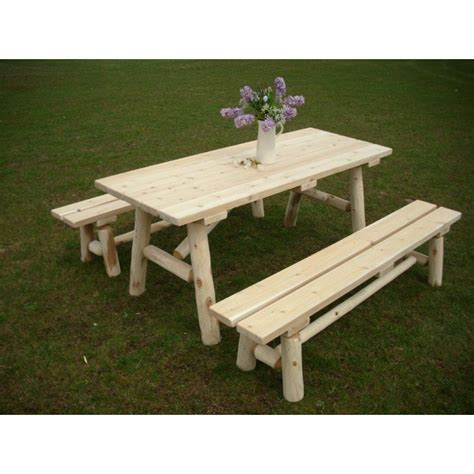 unfinished picnic tables for sale white cedar log traditional picnic table with detached