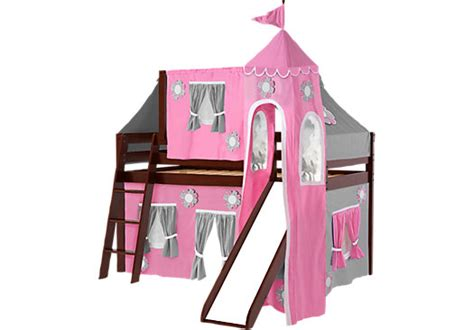 27120 bunk bed with slide pink cottage cherry jr tent loft bed with slide top tent