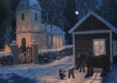 Swedish Winter Church Scene