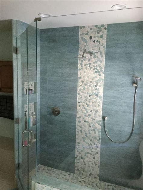 bathroom pebble tile  stone tile ideas images