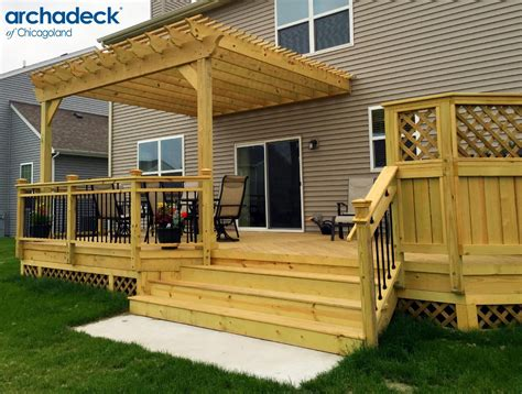 Wood Deck With Pergola By Chicago Suburb Deck Builder