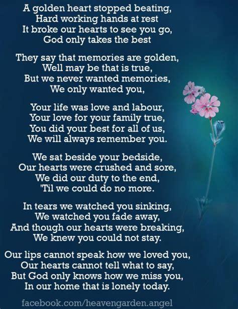 memorial poems  golden heart stopped beating heavens