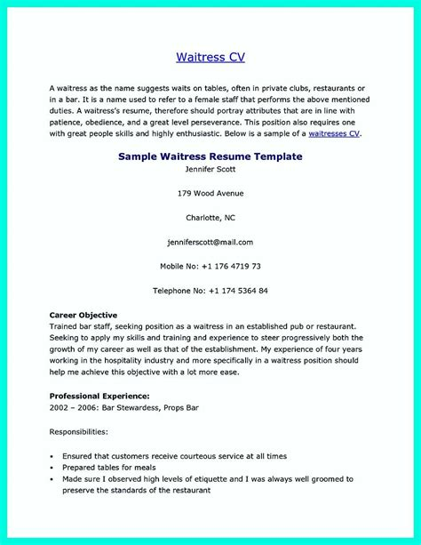 Resume Exles For Servers by Pin On Resume Template Server Resume Resume Skills