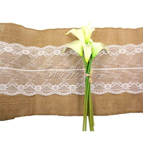 cheap table runners bulk wholesale free by dhl 30x275cm burlap lace hessian table