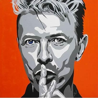 Bowie David Pop Portraits Paintings Painting Paint
