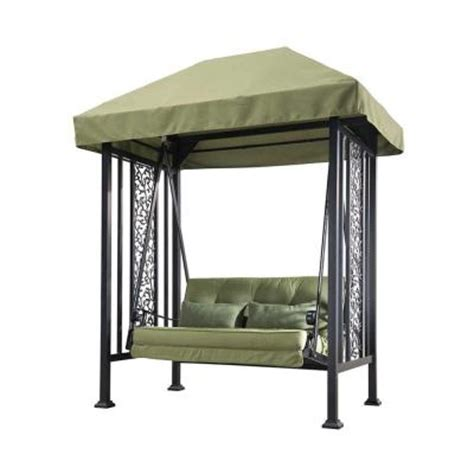 patio swings with canopy home depot sunjoy vineyard 2 person steel patio swing 110205009 the