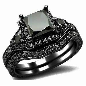 carbonado 201ct black princess cut diamond With black gold black diamond wedding ring sets