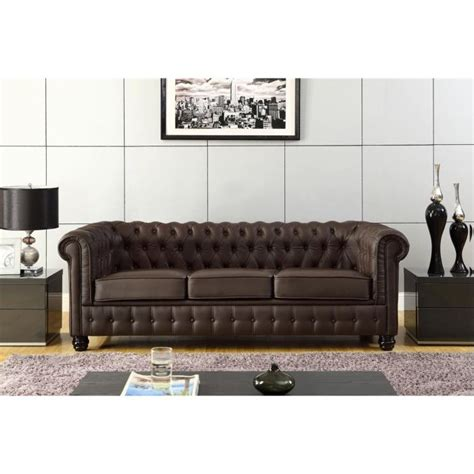 salon canapé marron chesterfield canapé en cuir et simili 3 places 213x88x75