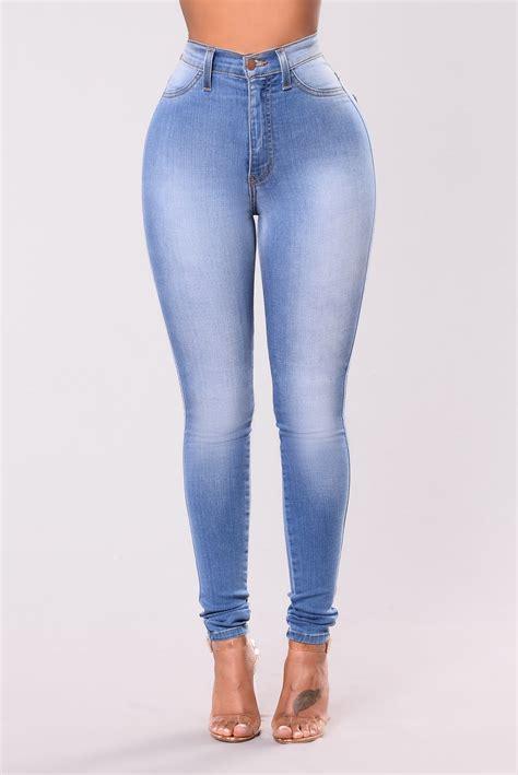 high waist light blue