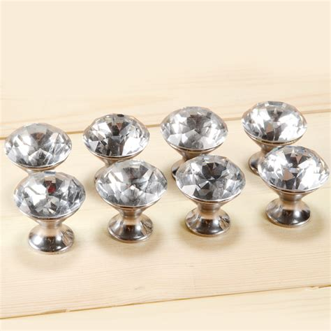 8 Of Diamonte Clear Door Knobs For Kitchen Cabinet Drawer