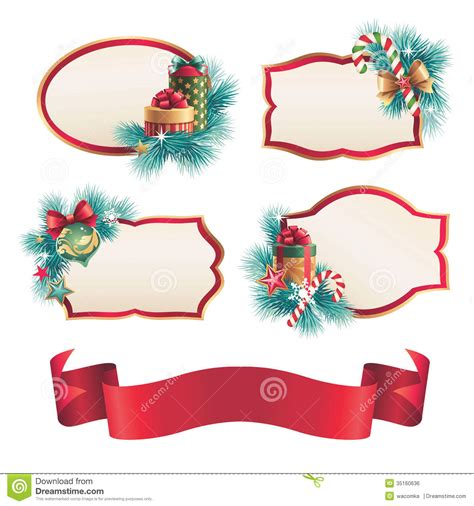 christmas blank labels  stickers design set stock