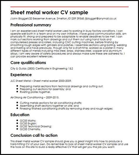 sheet metal worker cv sle myperfectcv