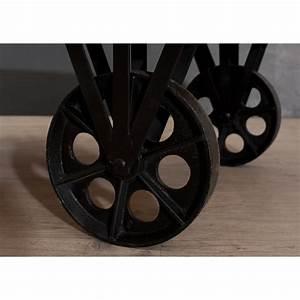 table basse industrielle grosses roulettes meubles With roulettes industrielles pour meubles