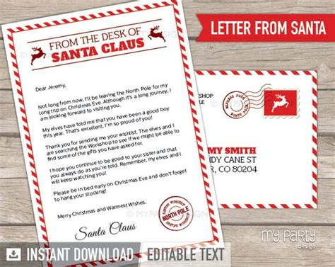 letter from santa template letter from santa kit with envelope template 28669