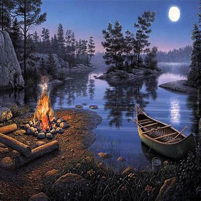 Camping Canoe Winter Outdoor Campfire Fun Trip