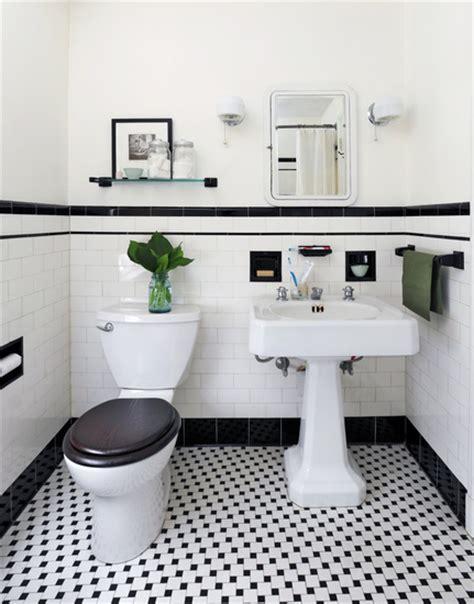 Badezimmer Schwarz Weiss black and white powder room vintage bathroom ore studios