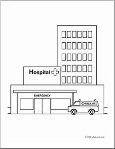 Clip Art: Buildings: Hospital (coloring page) | abcteach