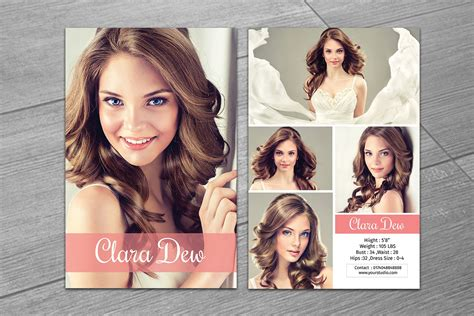 modeling comp card template  flyer templates