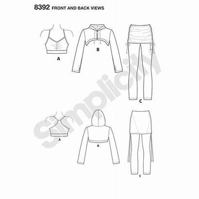 Sewing Pattern Simplicity Hoodie Cropped Leggings Bra