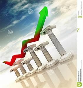 Graph On Greek Columns Diagram Stock Illustration
