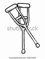 Crutches Cartoon Sketch Coloring Vector Template Drawn sketch template