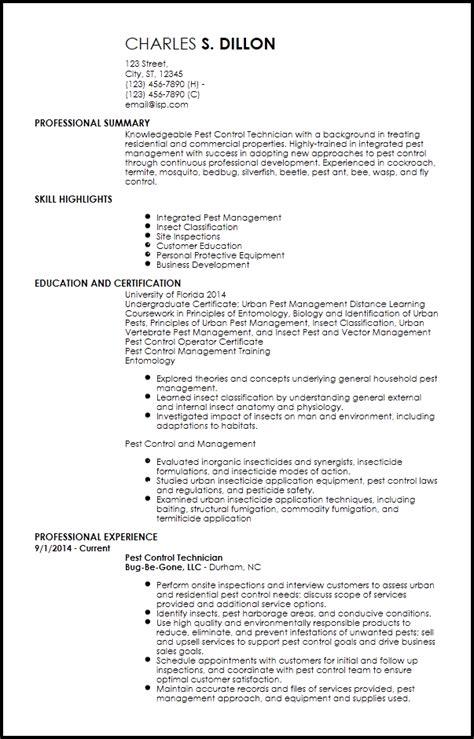 entry level pest control resume templates resume