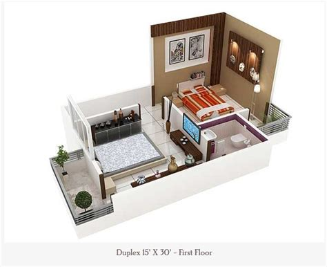 450 Square Feet Double Floor duplex Home Plan
