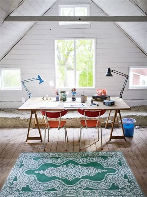 Angled Ceiling by 30 Cozy Attic Home Office Design Ideas