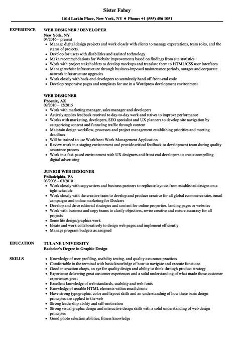 Web Design Resume by Web Designer Resume Sles Velvet
