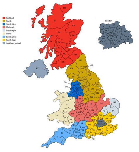 Map of United Kingdom postcodes | Ireland & Scotland ...