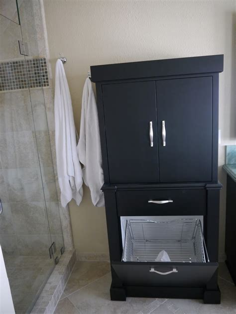 Modern Black Corner Linen Storage Cabinet Bathroom To