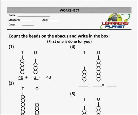 maths addition worksheet abacus practice sheet grade 1