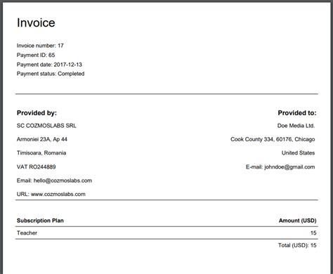 invoices cozmoslabs