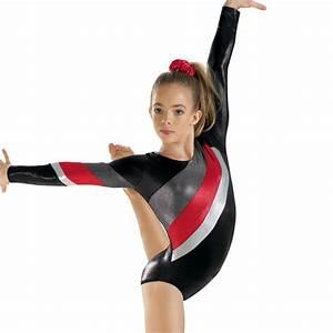 NEW Red Silver Black Foil Long Sleeve L/S Gymnastics ...