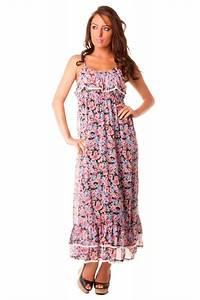 Tres belle robe longue bleue d39ete fleurie grossiste for Robe d été longue pas cher
