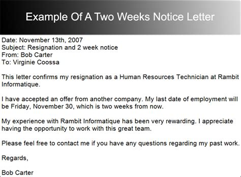 how to write a two weeks notice letter 40 two weeks notice letter templates free pdf formats