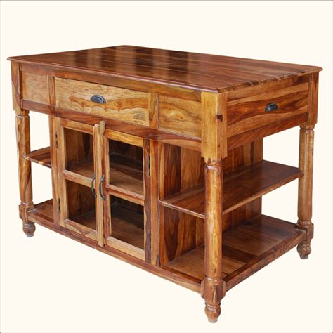 kitchen island table with storage 47 quot wood butcher top storage drawers cabinets kitchen cart