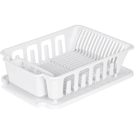 sterilite  piece white plastic dish rack  tray set fennell gage home hardware