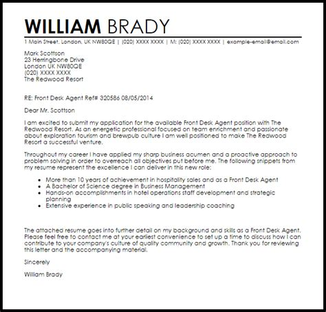 front desk agent cover letter sample cover letter templates examples