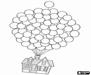 Flying House Pixar Up Coloring Coloring Pages