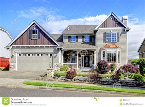 Home Exterior : Beautiful Grey New Classic Home Exterior With Natural